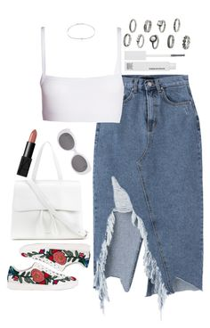 """Untitled #602"" by lindsjayne ❤ liked on Polyvore featuring Dries Van Noten, Gucci, Mansur Gavriel, Yves Saint Laurent, NARS Cosmetics, Make and Adriana Orsini"