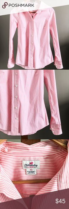J. Crew Haberdashery Button Down Shirt Pink and white stripe button down shirt from J. Crew. Retail, not factory. J. Crew button downs are a staple in my wardrobe because they fit so well! Size XS and brand new with tags! J. Crew Tops Button Down Shirts