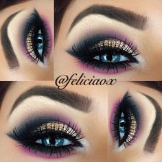 feliciaox's Instagram photos. NYE smokey eye Inspired by @Celeste Fernandez #loraccosmetics black on the outer v, crease and lower lash line. Taupe as a transition, both white and cream on the brow bone and tear duct. @Sugarpill Cosmetics goldilux pigment and #urbandecay midnight cowboy glitter on the lid. Pink shadow by @BH Cosmetics Maybeline gel liner and @eldorafalseeyelashes in H118