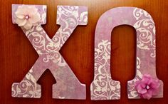 Such beautiful letters! Want to do this for Phi sig Cute Letters, Diy Letters, Painted Letters, Wood Letters, Sorority Recruitment Decorations, Delta Zeta Crafts, Chi Omega Crafts, Sorority Crafting, V Cute