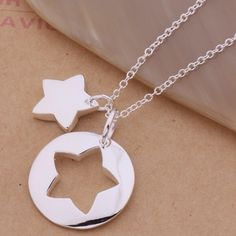 Star jigsaw puzzle necklace 18 inches , 925 steering silver. Jewelry Necklaces