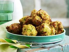 Deep-fried zucchini balls recipe - By Australian Women& Weekly, Delicious deep-fried zucchini balls served with a refreshing yoghurt dip. Deep Fried Zucchini, Zucchini Fries, Savoury Finger Food, Savory Snacks, Zucchini Balls Recipe, Vegetable Salad, Vegetable Recipes, Cooking Recipes, Healthy Recipes