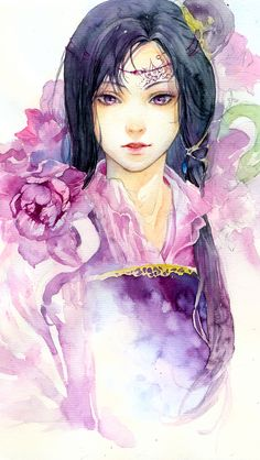 watercolor on canson paper Violet Anime Kunst, Anime Art, Fantasy Art Women, Manga, Ancient Art, Chinese Art, Female Art, Art Girl, Watercolor Art