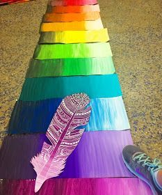 past few months my students have been making feathers for a group mural. This idea was inspired by my friend and celebrity in the art c. Group Art Projects, Classroom Art Projects, School Art Projects, Art Classroom, Collaborative Art Projects For Kids, Classe D'art, School Murals, 6th Grade Art, Ecole Art