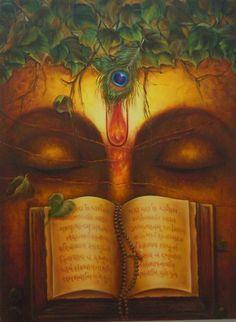 Dharma Gyan by Rakhi Baid Indian Artwork, Indian Paintings, Indian Traditional Paintings, Krishna Art, Radhe Krishna, Hanuman, Religious Paintings, Om Namah Shivaya, Lord Krishna Images