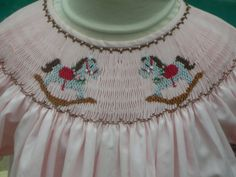Pale Pink Handsmocked Bishop With Rocking Horses Ready To Ship Size 3t