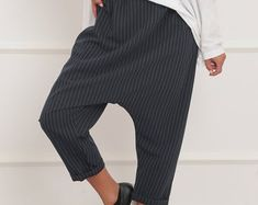 Avant Garde Pants /Harem Pants Women /Drop Crotch Pants/ Baggy   Etsy Harem Trousers, Wide Leg Trousers, Baggy Pants, Casual Pants, Black Pants, White Pants, Striped Pants, Military Combat Boots, Drop Crotch Pants
