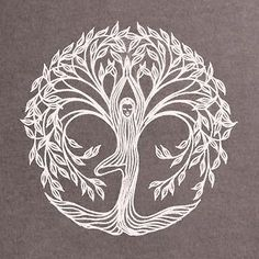 "Yoga tree pose design - would make a beautiful tattoo! I'd add the Hebrew words ""this too shall pass"". 
