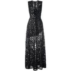 Elie Saab Semi Sheer v Neck Dress ($10,191) ❤ liked on Polyvore featuring dresses, black, semi sheer dress, v neckline dress, elie saab, v-neck dresses and elie saab dresses