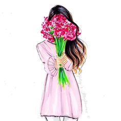 Extra illustrations LINE BOTWIN 'girly illustrations ' Odette by Melsys on Etsy illustration obtain Illustration Mignonne, Illustration Mode, Illustration Fashion, Fashion Illustrations, Flower Illustrations, Fashion Sketches, Art Sketches, Fashion Drawings, Fashion Prints