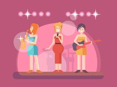 Girls music band performing on stage flat vector illustrationVector files, fully editable.