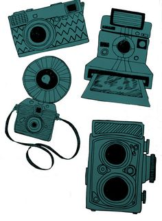Line Drawing Illustrations of various cameras.  #camera #photography #photographer #art