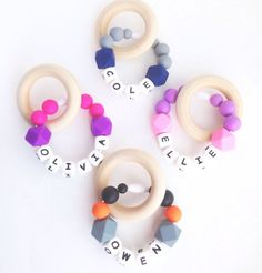 Personalized Teething Ring Silicone Teething by TheTeethingFairy
