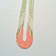Enamoured Necklace- Pink Coral with Pale Green and Gold Palette . isawandwillbe . etsy
