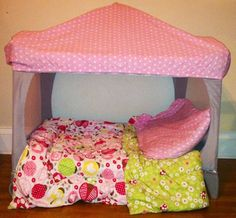 """Awesome recycle! this is an old camp-cot.  Cut the mesh out of one side, add a fabric """"lid"""" and you have a princess reading/ nap area.  Nice for a friend to stayover, or just to use for a quiet play area for your toddler.    seen here http://www.apartmenttherapy.com/2-ways-to-upcycle-your-pack-n-play-181474"""