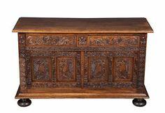 Dutch Antique Carved Oak Coffer Trunk Chest Locking Sturdy