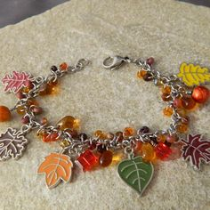 The Color of Fall Charm Bracelet by WireNWhimsy on Etsy