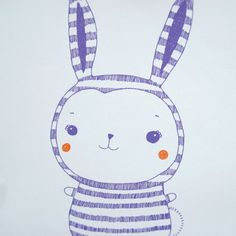 Rabbit illustration. Nursery print or children's door BeetrootPress