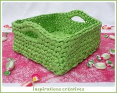 Tuto Panier Carré en Zpagetti. Square basket tutorial in French by Inspirations Créatives.