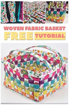 Woven Fabric Basket - Free Tutorial - Basket Weaving with Mister Domestic - Handmade Easter Basket Weaving Projects, Quilting Projects, Diy Projects, Fabric Basket Tutorial, Purse Tutorial, Fabric Boxes, Fabric Storage, Fabric Scraps, Easter Fabric
