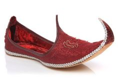 Amazon.com: Unze Men Velvet Embroidered Leather Turn Up Slip On Wedding,Party,Indian Groom Khussa - Gs49: Shoes