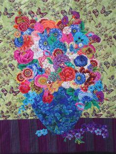 """""""Kaffe Fassett's Flower Shop"""" wall hanging at Waterwheel House Quilt Shop"""