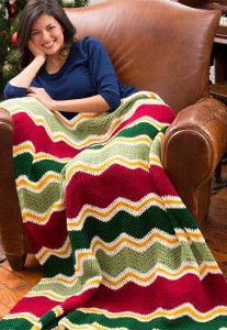 This Crochet Chevron Christmas Pattern is the perfect beginner crochet pattern for the holidays.    AllFreeCrochetAfghanPatterns.com