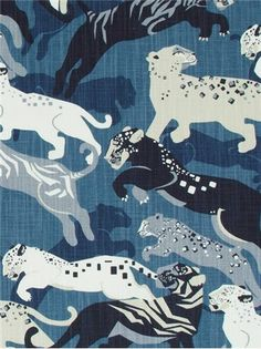 """Rajita Tiger Midnight - Dwell Studio Fabric - Exclusive Robert Allen Design. Transitional tiger print on durable 100% cotton. Perfect for furniture upholstery or window treatments. 50,000 double rubs. Repeat; V 25.25"""" x H 27"""". UFAC; Class 1. 55"""" wide."""