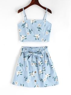 Smocked Stripes Floral Top And Buttoned Skirt Set Trendy Summer Outfits, Cute Teen Outfits, Cute Comfy Outfits, Teenager Outfits, Outfits For Teens, Pretty Outfits, Stylish Outfits, Casual Summer, Classy Outfits