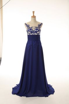 Classical Blue Chiffon Prom Dresses Appliques Backless Floor Length JY516 Real Photo | wowodress.com