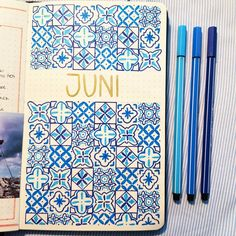"Gefällt 52 Mal, 2 Kommentare - Leona (@journaling_with_carameleo) auf Instagram: ""JUNE #coverreveal  cant believe its already June 🙈 Summer is already here 💙 . . . .  #bulletjournal…"" Juni, Journaling, Bullet Journal, Cover, Summer, Instagram, Summer Time, Caro Diario"