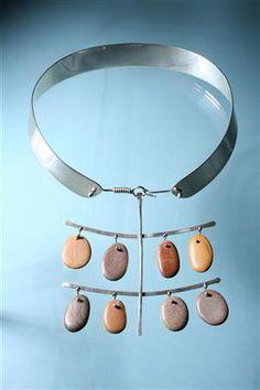 silver, beach stones, Necklace designed by Torun Bülow-Hübe