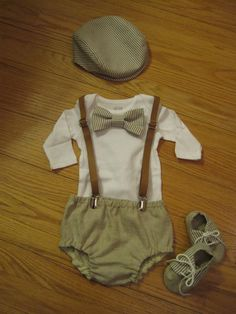 Baby boy vintage outfit Diaper cover Newsboy hat by BelinBoutique