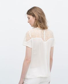 COMBINED GUIPURE LACE TOP-View all-Tops-WOMAN | ZARA Thailand