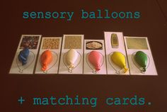 Sensory balloons and matching cards