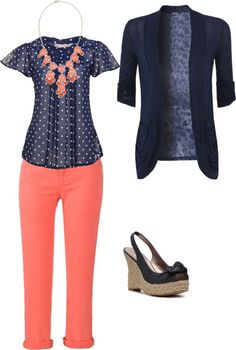 navy polka dots and coral pants with navy cardi or jean jacket