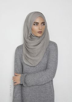 INAYAH | Feather Grey Maxi Silk #Chiffon #Hijab + Light Grey Long #Jumper - also available in Black and petite sizes - visit www