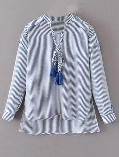 Tie Neck High Low Tassel Striped Blouse - STRIPE L