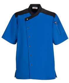 b73f5acb3 Black w/Charcoal Trim Snap Front Chef Coat. Also available in other colors.