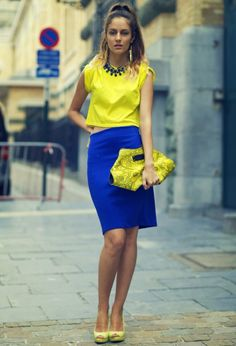 Color Block Outfit combinations are for stylish women who love fashion and that are not afraid to make unique combinations of clothes in bright colors. Blue Skirt Outfits, Spring Outfits, Blue Pants Outfit, Summer Outfit, Fashion Colours, Colorful Fashion, Mod Fashion, Womens Fashion, Royal Blue Skirts