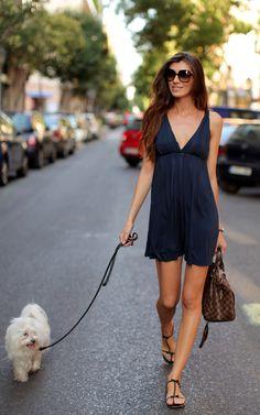 Take me for a walk - Navy dress, little white dog