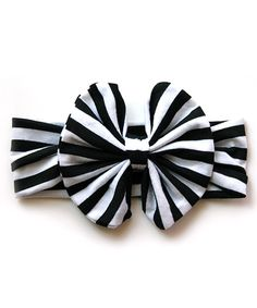 Look at this #zulilyfind! Scabib Black & White Stripe Bow Headband by Scabib #zulilyfinds