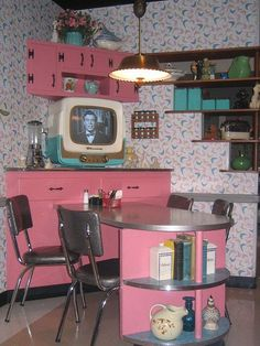 ♥! This is amazing. That TV makes me drool... as well as the shelves and wallpaper and light, and pink cabinets... etc.