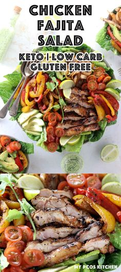 Keto Low Carb Chicken Fajita Salad - My PCOS Kitchen - A delicious low carb fajita salad with marinated chicken thighs and lots of veggies. #chickenfajita #fajitasalad #lowcarb #keto #ketogenic #ketofajitas #lchf via @mypcoskitchen