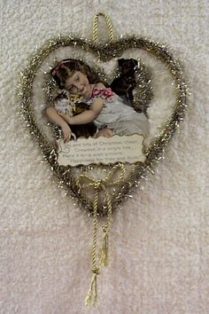 tinsel and scrap heart - you could use an old postcard or greeting card as the pic