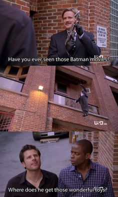 A combination of what I like! Westley from the  Princess bride, Batman, and Psych all in one episode