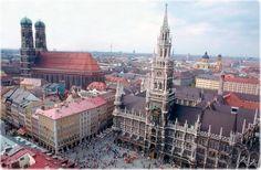 Birdseye view of the Rathaus am Marienplatz in Munich