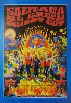 Bill Graham poster Santana, Al Green, Buddy Guy 94 95 live at Oakland coliseum