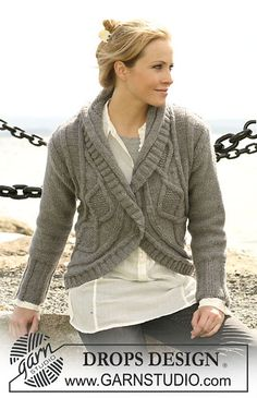 Ravelry: 104-17 Jacket with turns pattern by DROPS design