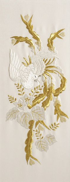 Bird. Whitework & goldwork Embroidery. CLICK TO ENLARGE